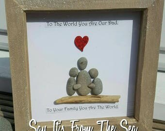 Hand made Unique fathers day gift. Pebble and drift wood art in deep box frame. Can be personalised to suit. Please message me