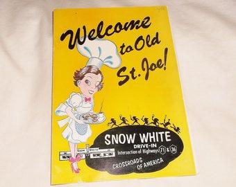 Vintage SNOW WHITE Drive-In Menu • St. Joe, Missouri