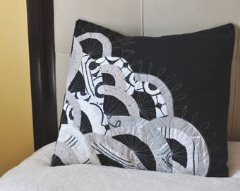 Quilted, colorful, decorative, pillow case in Black and White