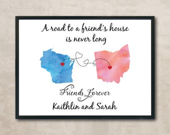 Best Friend Map Long Distance Best Friend Custom Map Friendship Personalized Map Birthday Gift For Best Friend Going Away Gift For Friend
