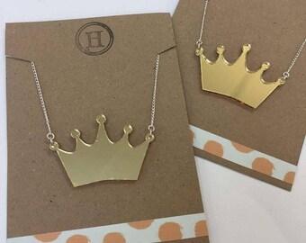 Gold Sparkle Mirror Crown Tiara Princess Necklace
