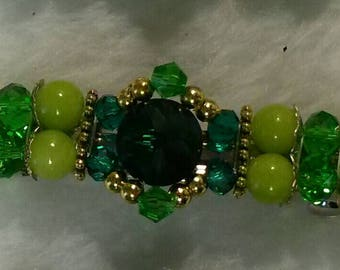 Beaded Barrette, Parallel Design, Green2