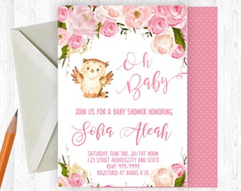 Owl Baby Shower Invitation, Owl Baby Girl Shower Invitation, Owl Baby Shower, Watercolor Floral, Printable OR Printed