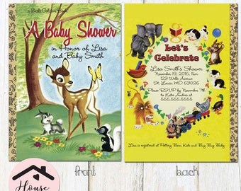 Little Golden Books Inspired Bambi Baby Shower Invitation, Baby Shower Invite, Little Golden Book, Storybook Invitation, Bambi Invitation