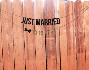 Just Married custom banner with wedding date