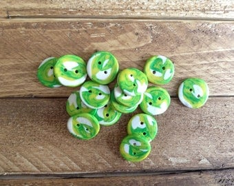 Buttons, Polymer Clay, Craft Supplies, Sewing Supplies, set of 6