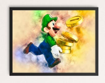 Watercolor Super Mario Bros Luigi Art Print, Watercolor Art Print, Nintendo Poster, Nursery Wall Art, Luigi Art Print, Instant Download