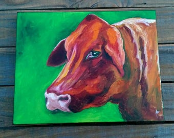 Cow Painting- Brown Cow Painting- Small Cow Painting- Cows- Farm Animals- Where's The Beef