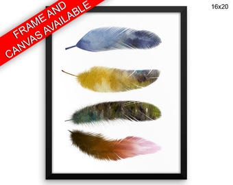 Watecolor Wall Art Framed Feathers Canvas Print Watecolor Framed Wall Art Feathers Poster Watecolor Home Art Feathers Home Print Watecolor