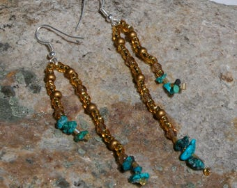 Double Strand Turquoise & Gold Earrings