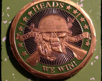 Heads We Win, Tails You Lose Colorized Challenge Art Coin