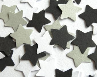 Silver Black And White Stars Confetti - New Year's Party Decor - Silver Shimmer Stars