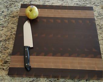 Walnut and maple end grain butcher block cutting board