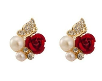 Red Rose Gold Plated Stunning Looking Earrings