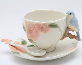 Bird Cup and Saucer and Spoon 6 Pieces Set - Bluebird Apple Blossom (20905)
