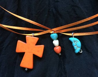 Orange and Blue Triple Ribbon Necklace with Cross, Hearts and moon