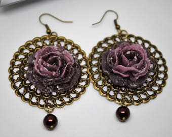 Purple Rose earrings handmade resin on bronze with earwires cod. BRVL1G