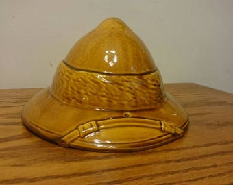 Haeger 8261 Yellow Ceramic Pottery Safari Hat Planter
