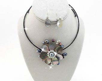 Choker Necklace Set Real Genuine AB Pearl Grey Stones