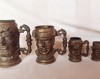 Rare collection of 4 mugs in bronze early twentieth-