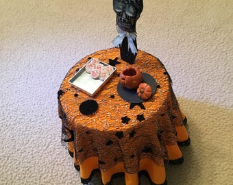 handmade halloween dollhouse party table