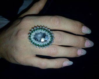 Emerald silver Adjustable ring
