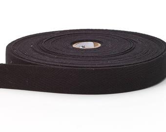 Twill tape, 1/2-inch Wide, 36 yds, Black