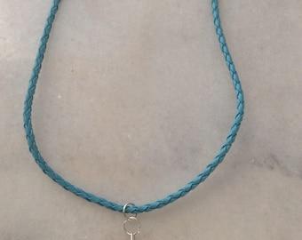 Blue Leatherette Necklace