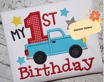 My first birthday Truck Applique