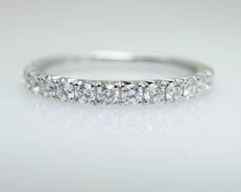French Pave .46CTW Diamond Wedding Band in 14k White Gold Diamond Band White Gold Wedding Band Anniversary Ring