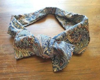 Blue designed tie fabric headband headscarf bow knot
