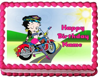 BETTY BOOP Motorcycle edible cake topper party image