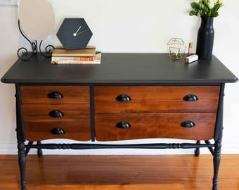Charcoal and Walnut 5 Drawer Dresser / Sideboard