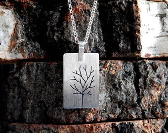 Trees Silver Pendant - Oxidized Sterling Silver Pendant - Silver Chain Necklace - Nature Inspired Jewelry - Perfect Gift