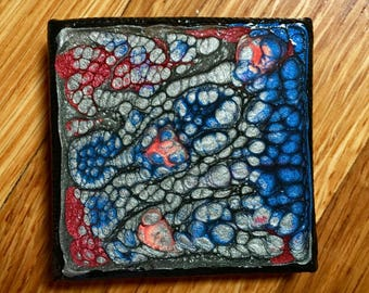Silver, Black, Blue, Crimson and Orange Hand Painted 2x2 Canvas Panel Magnet