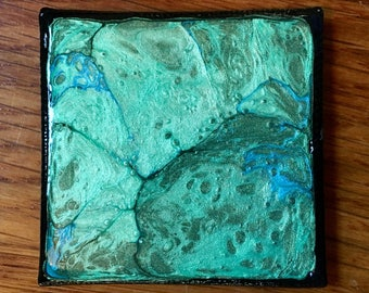 Emerald and Green Hand Painted 2x2 Canvas Panel Magnet