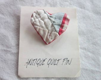 Vintage Heart Brooch made from an Antique Quilt