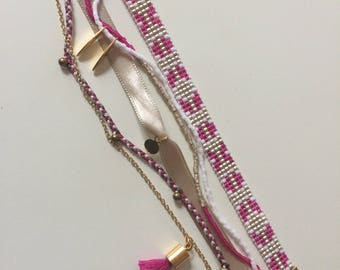 Multi Row pink and gold handmade