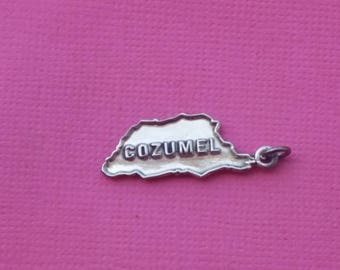 Sterling Silver Charm Cozumel Vintage Jewelry Pendant Necklace Travel Mexico