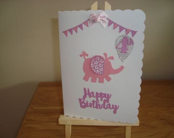 Handmade child's birthday card, Elephant birthday card, Die-Cut