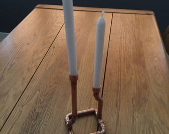 Copper pipe candle stick holder