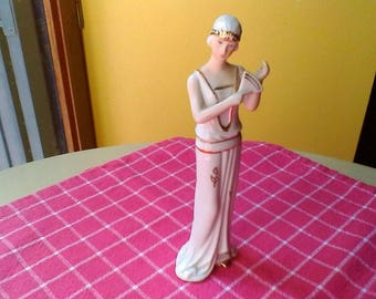 1920s lady with fan figure - French vintage white porcelaine