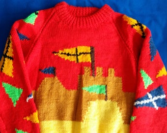 Hand knitted boys jumper