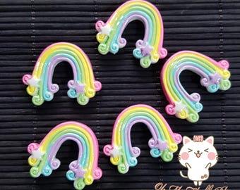 Kawaii Rainbow Cabochon *Set of 5*