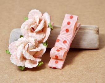 Pink Baby Hair Clips, Infant Hair Bows, Toddler Hair Bows, Girls Hair Bows, Hair Clip Set, Flower Hair Clips, Roses, Alligator Clips, Coral