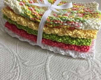 Set of 5 Handknitted 100% Cotton Washcloths/Dishcloths Yellow/Green