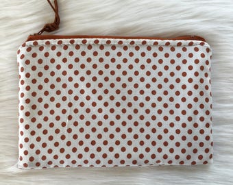 Shimmer Pouch. Brown Polka Dots.
