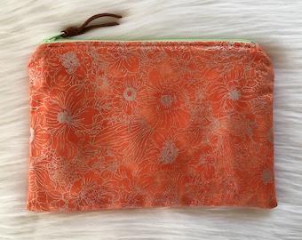 Shimmer Pouch. Orange Floral.