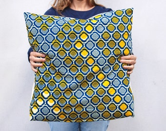 """Lemon"" Cushion cover 50 x 50 - blue and yellow wax"