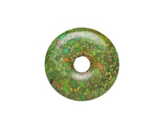 Focal gemstone component mosaic turquoise dyed, green flat round donut 45mm, focal mosaic green donut 45mm.